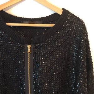 Marc by Marc Jacobs Sequin Wool Zip Cardigan
